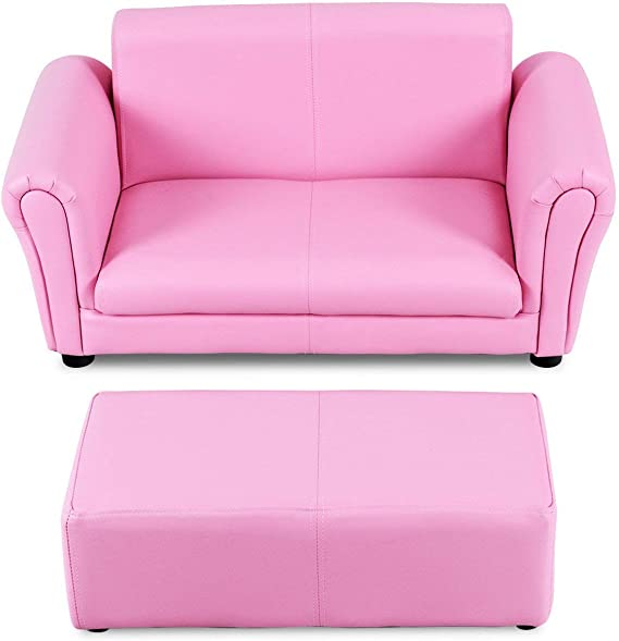 HONEY JOY Kids Sofa Set 2 Seater Armrest Children Couch Lounge w/Footstool (Pink)