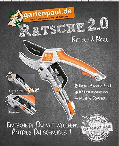 Gartenpaul Ratsche 2.0 Gartenschere | Hybridschere | Ratschenschere | Rollschere | 2 in 1 | Ratsch and Roll | Amboss Gartenschere | inkl. Schä rfer
