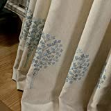 Embroidered Curtains Linen Cotton Drapes – Anady Top Light Blue Flower Living Room Curtains Drapes Grommet 84 inch Long(Customized Available) For Sale