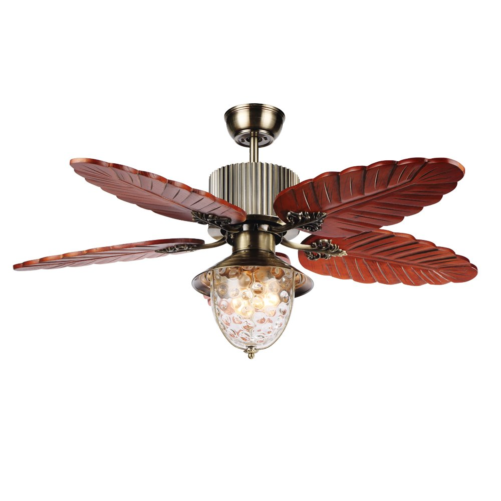 RainierLight Antique Ceiling Fan Lamp Remote Control Led Light Chandelier for Bedroom/Living Room/Indoor 5 Blades Mute Electric Fan (42inch)