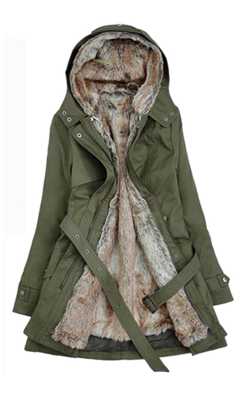 Lingswallow Women's Winter Thicken Woolen Outwear Coat Jackets With Hood (US 8-10, Army Green)