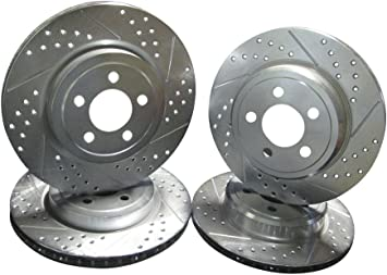 Rear Set Drill And Slot Brake Rotors For 300C Dodge Charger Challenger Magnum