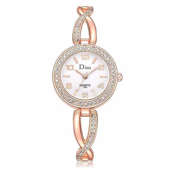 Darringls_Reloj DISU DS028,Moda Relojes Pareja Reloj de Pulsera de Cuarzo analógico de Acero Inoxidable con Diamantes para Hombre Mujeres imitación de ...