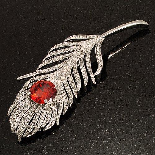 Grosse Broche Ton Argent Plume Paon Cristal Swarovski (Transparent & Rouge Carotte)