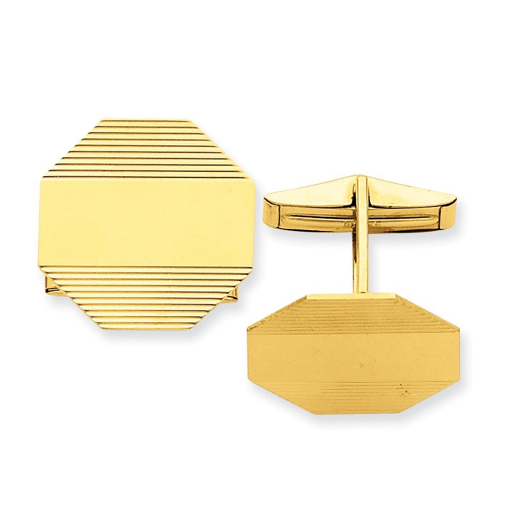 14k Yellow Gold Octagonal Cuff Links with Stripe Detail