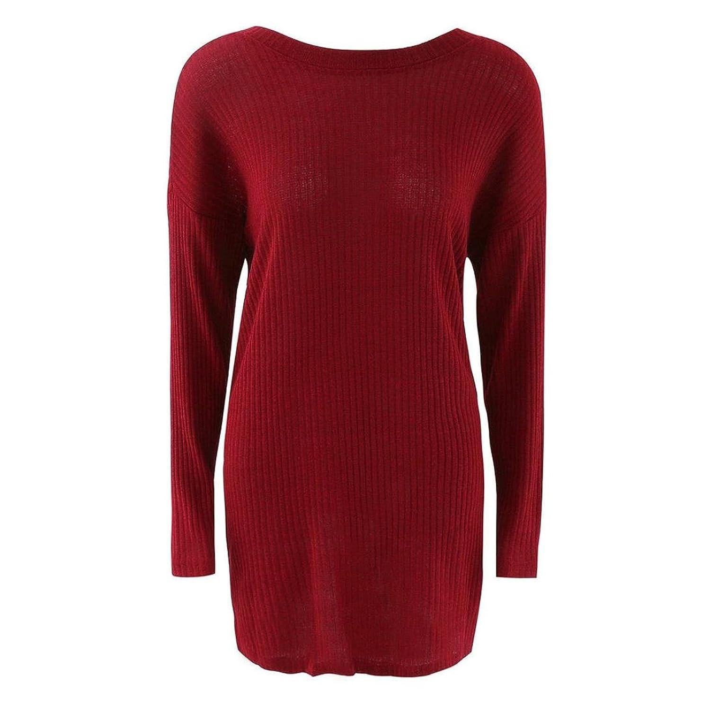 VESNIBA Womens Casual Long Sleeve Backless Jumper Sweaters Coat Dress