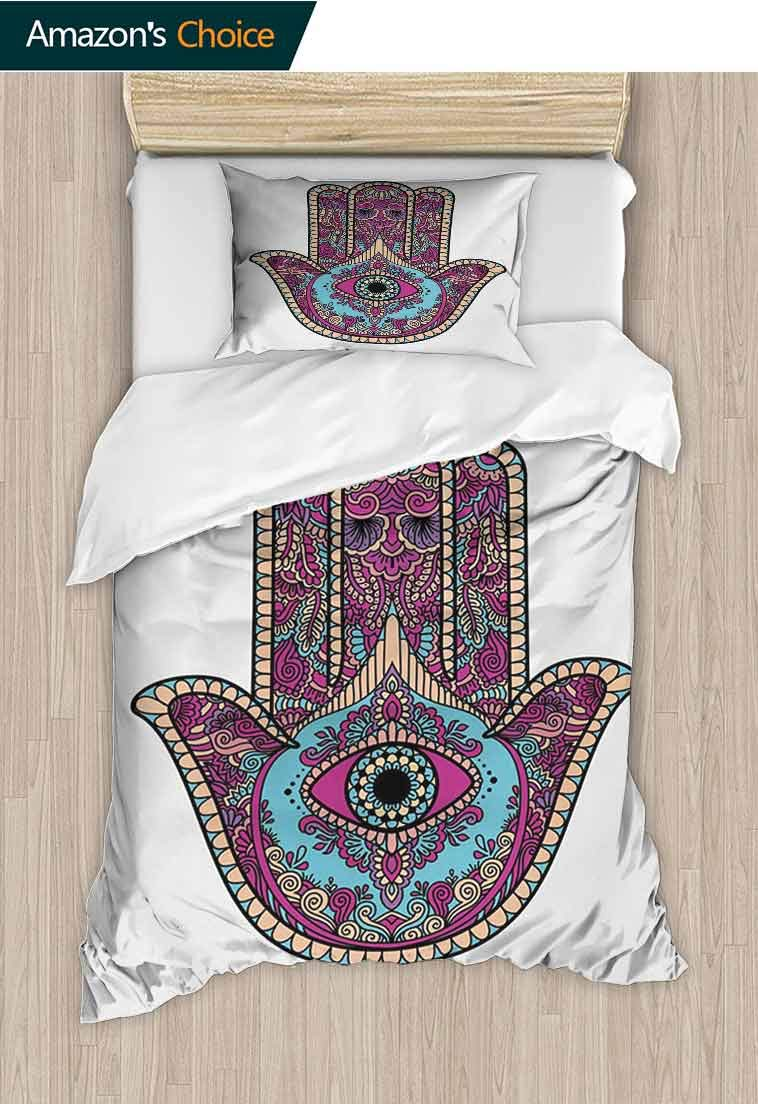 Hamsa DIY Quilt Cover and Pillowcase Set, Doodle Zentangle Style Bohemian Old Fashioned Floral Swirls All Seeing Eye, Reversible Coverlet, Bedspread, Gifts for Girls Women, 79 W x 90 L Inches