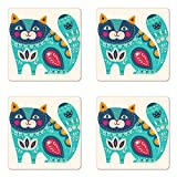 Ambesonne Animal Coaster Set of Four, Cute Chubby Smiling Cat with Colorful Paisley Motif Ethnic Tribal Style Figures Art, Square Hardboard Gloss Coasters for Drinks, Multicolor