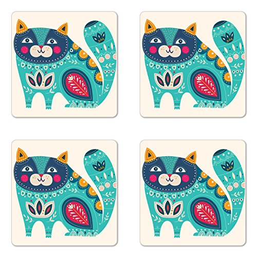 Ambesonne Animal Coaster Set of Four, Cute Chubby Smiling Cat with Colorful Paisley Motif Ethnic Tribal Style Figures Art, Square Hardboard Gloss Coasters for Drinks, Multicolor by Ambesonne