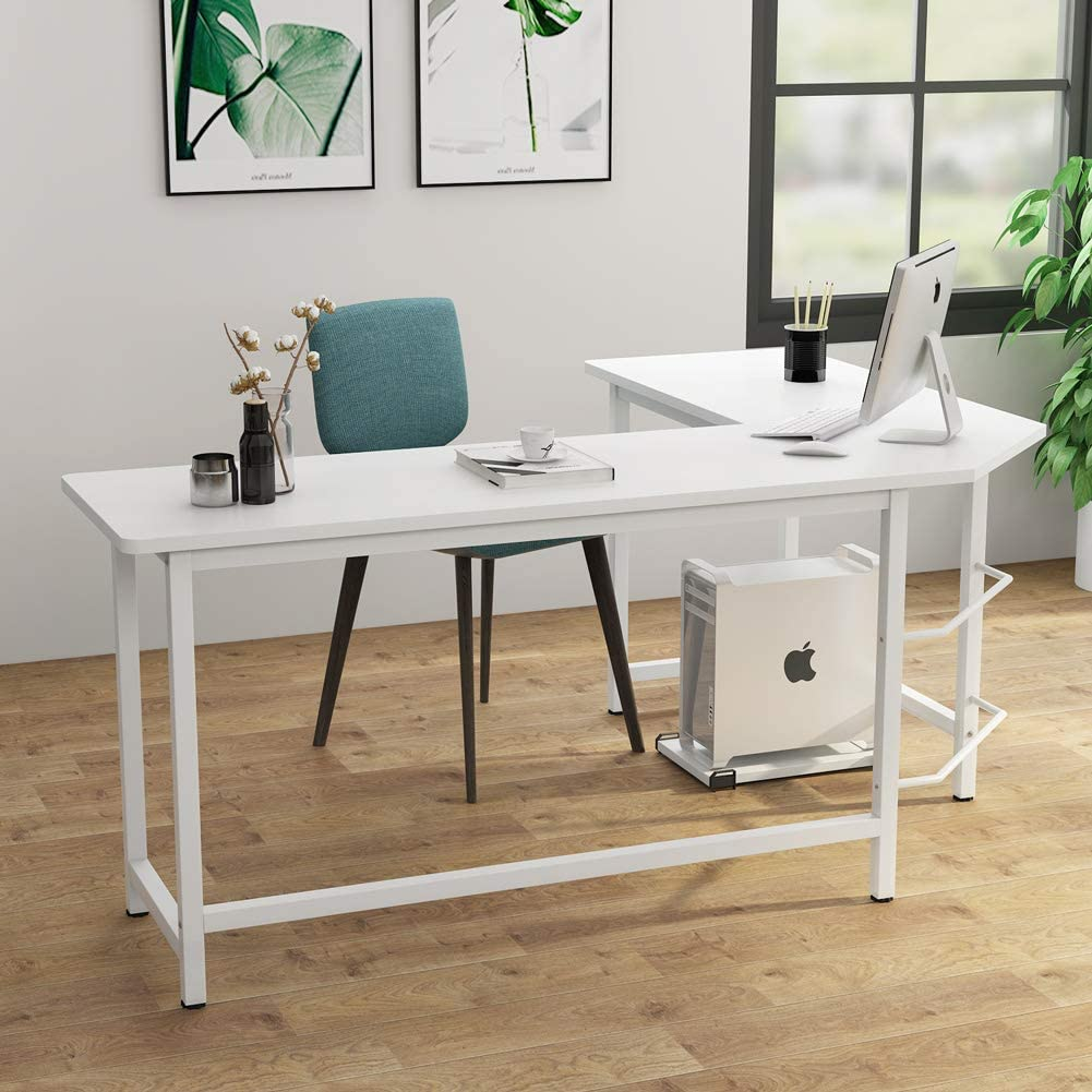 White Tribesigns Modern L-Shaped Desk Corner Computer Desk PC Laptop Study Table Workstation Home Office Wood /& Metal