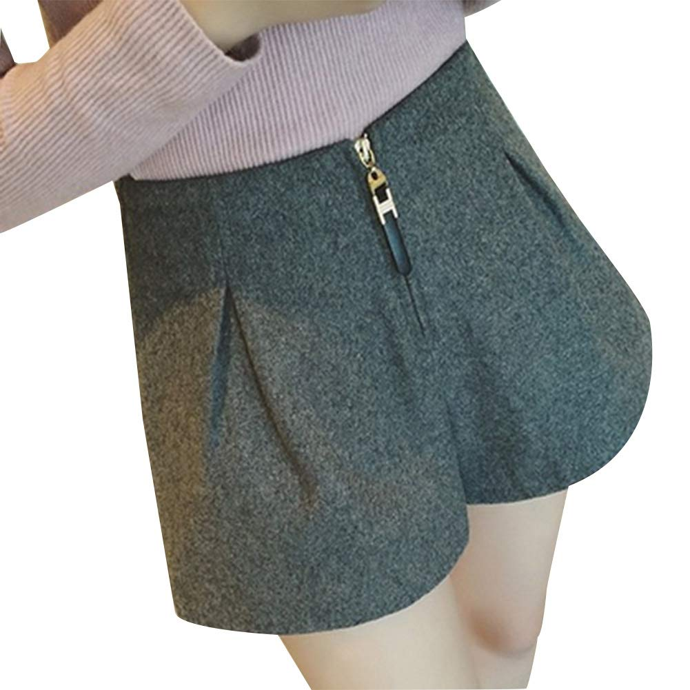 Pantaloncini Larghi Pantaloncini Larghi in Lana L-Nero GLOGLOW Pantaloni Corti da Donna