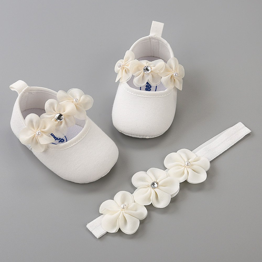 Zerototens Baby Girls Shoes with Headband Gift Set Toddler Girl Lovely Spring Summer Flower Soft Sole Anti-Slip Sneakers Princess Shoes Kids First Walking Shoes