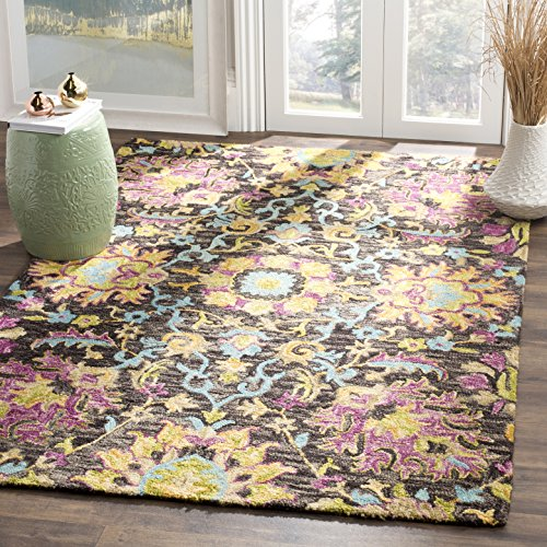 Safavieh Blossom Collection Floral Vines Premium Wool Area Rug, 3 x 5 , Charcoal Multicolored