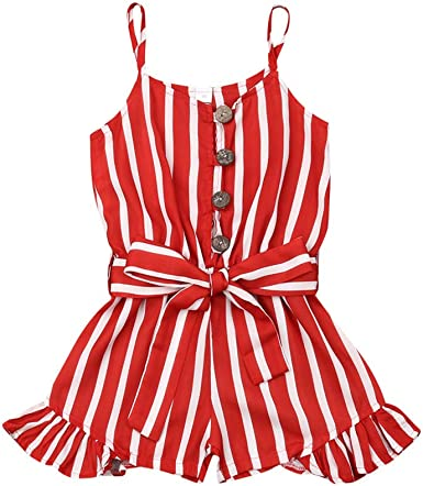 Newborn Baby Girl Romper Striped Bodysuit Sunsuit Summer Clothes Outfits 2-6Y