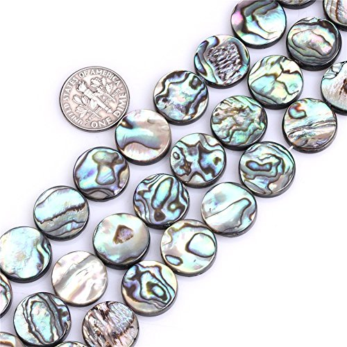 12mm Flat Coin Natural abalone Shell Beads Semi Precious Gemstone Beads for Jewelry Making Strand 15 Inch (33pcs)