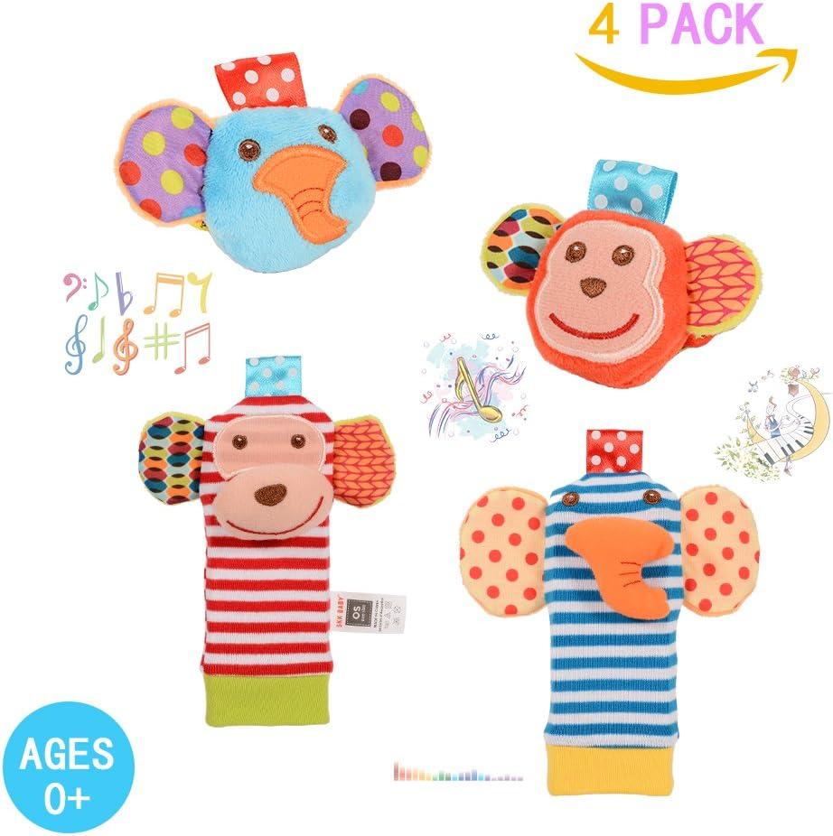 Twister.CK Traqueteo de bebé, 4 pzas, sonajeros de muñeca de bebé y Juego de buscador de pies Calcetines de Juguete Juguetes de Desarrollo de Animales Suaves (2 Elefantes + 2 Monos)