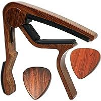 Moreyes Guitare Capo pour guitare acoustique, ukulélé, guitare électrique, basses avec couleur bois médiators Mirabow color
