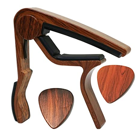 MOREYES guitarra cejilla para guitarra acústica, ukelele, guitarra eléctrica, bass con madera color