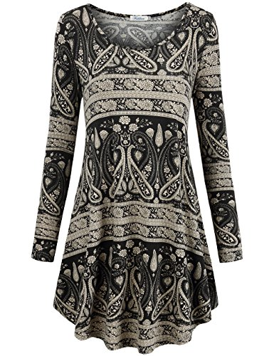 Dresses for Women Work Casual, Faddare Comfy Ethnic Loose Fit Shift Geometric Pattern Tunics Dress, White Black (Dresses For Promotion)
