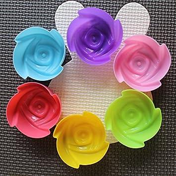 Molde de gel de sílice para tartas, chocolate, gelatina, puff y postre flor Multicolor: Amazon.es: Hogar