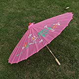 Partysanthe Partysanthe Handmade Chinese Cloth Floral Umbrella Wedding Dance Props Pink
