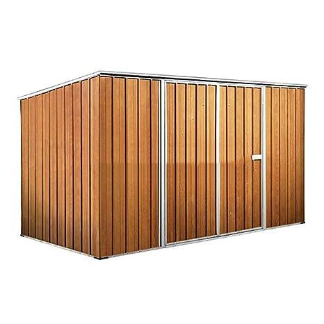 Enaudi - Caseta de jardín de chapa color madera para depósito de herramientas, 345 x