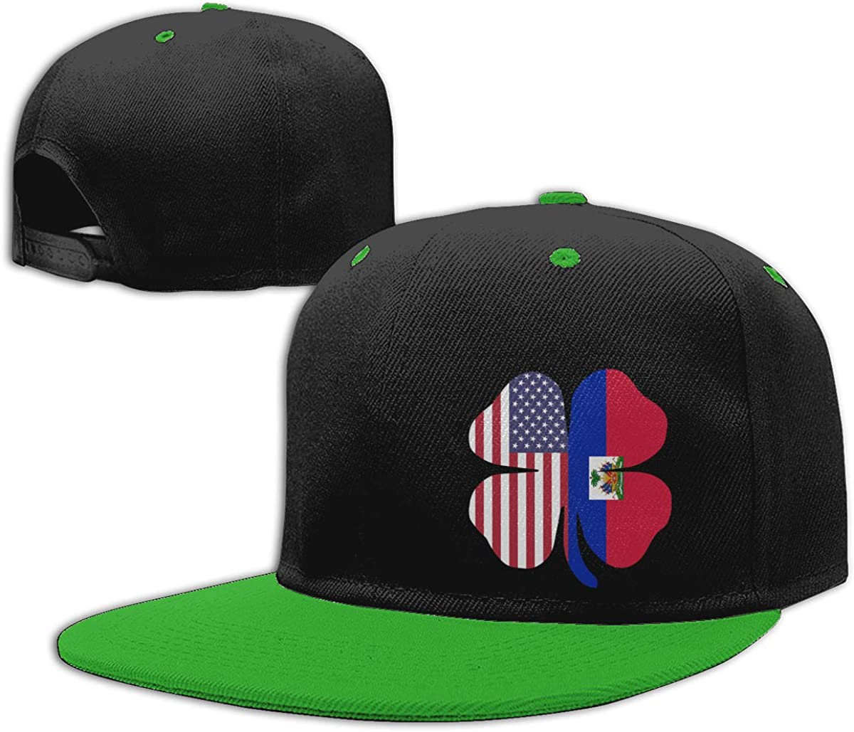 NMG-01 Women Men Dad Hat American Haitian Shamrock Shape Printed Flat Bill Baseball Caps