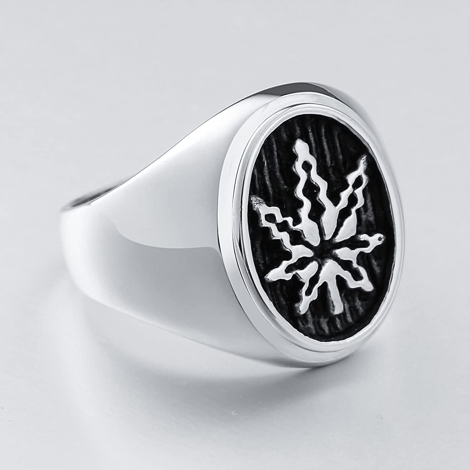 AMDXD Mens Stainless Steel Promise Ring Oval Maple Leaf High Polished Ring