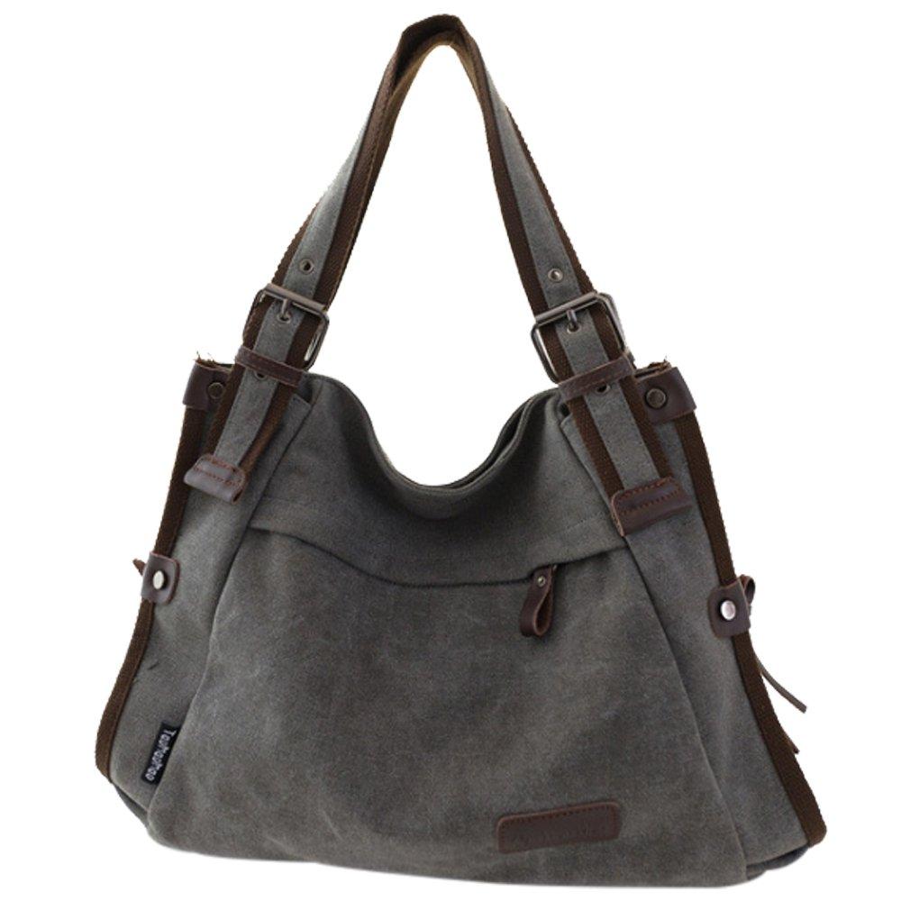 Duofeiya Retro Hobo Style Bolso de mano de lona para mujer Bolso bandolera Lady Messenger Bag Blue H012BL