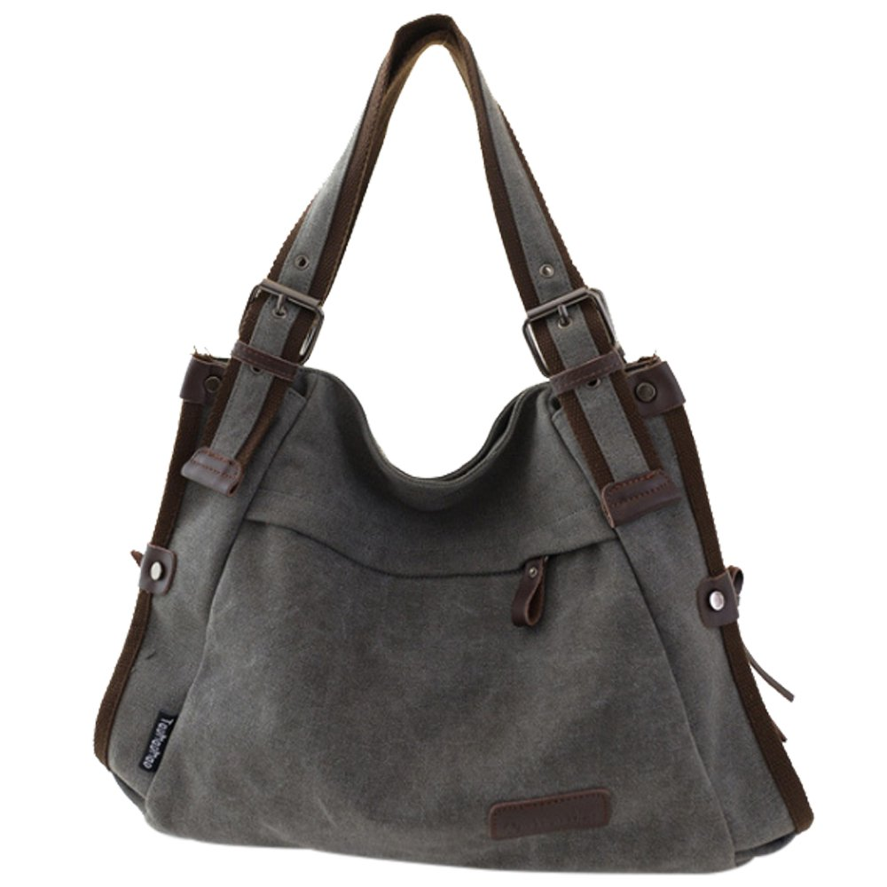 Retro Hobo Style Women's Canvas Casual Handbag Shoulder Bag Messenger Bag Gray