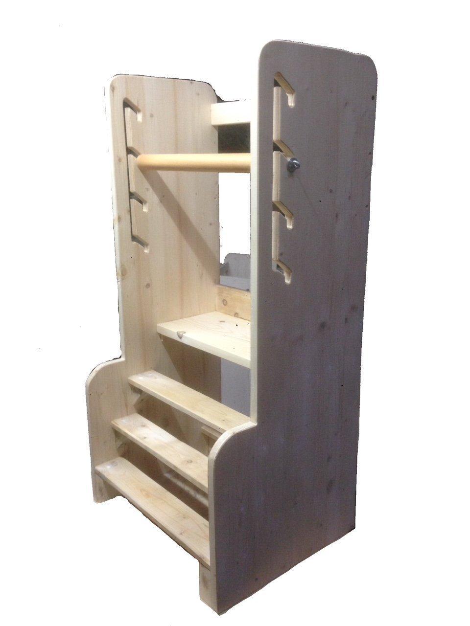 Learning Tower - Torre Montessori -Nome Personalizzabile - Selezione Rapida - In Legno di Abete MattArt