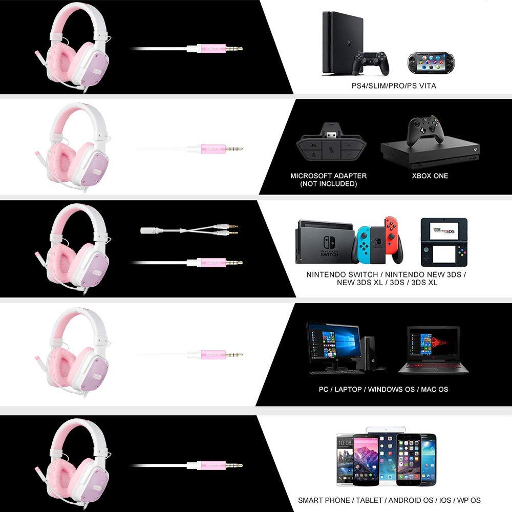 SADES DPOWER [Angel Edition] Over-Ear-Gaming-Headset, 3,5 mm Klinke, Stereo-Kopfhörer mit Mikrofon, Geräuschunterdrückung, weiche Leder-Ohrmuscheln, für Nintendo Switch, PS4, Xbox One, Computer
