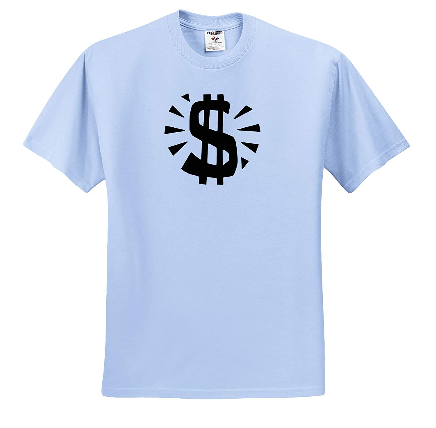 Black and White 3dRose Lens Art by Florene Adult T-Shirt XL Image of Huge Dollar Sign in Black ts/_317076