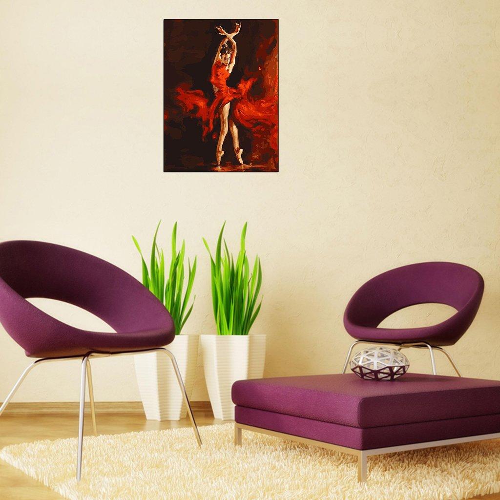 Kit de pintura al /óleo digital para decoraci/ón de pared para bailarina de fuego sin marco Koehope