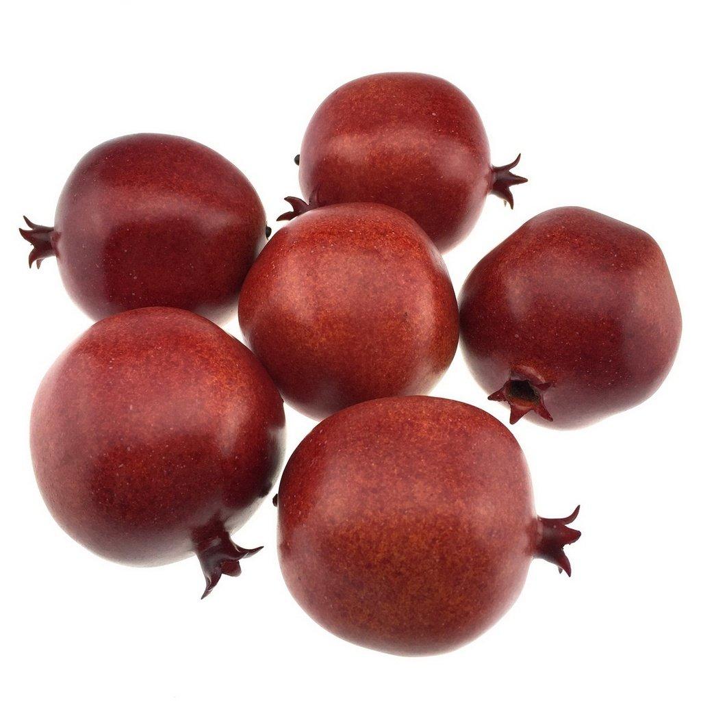 Gresorth 6pcs Lifelike Artificial Burgundy Pomegranet Fake Fruit Home Kitchen Desk Decor