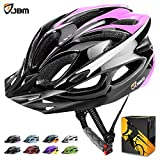 JBM international JBM Adult Cycling Bike Helmet Specialized for Mens Womens Safety Protection Red/Blue/Yellow (Black & Pink, Adult)