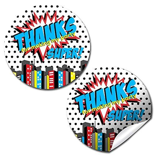 Super Hero Boy Birthday Party Thank You Sticker Labels, 40 2
