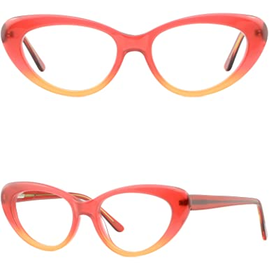 6de8eb6b621 Image Unavailable. Image not available for. Color  Large Red Womens Cateye  Plastic Frames Spring Hinges Wide Prescription Glasses
