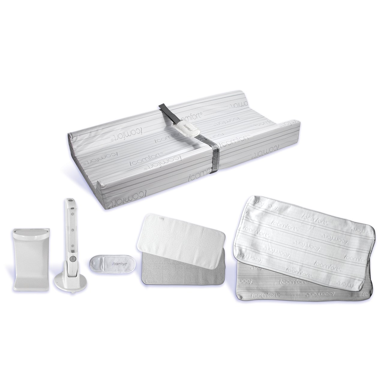 Serta iComfort Premium Baby Contoured Changing Pad and Cover Special Bundle: Dual Effect Gel Memory Foam Change Pad, 2 Change Pad Covers, 2 Change Pad Liners, Fabric Pinch Guard, Motion Active Night Light Babys jurney 3411