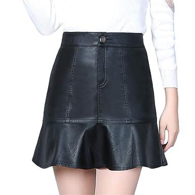 Wikibird Primavera La Moda Falda de Cuero Mujer Todos los Dias ...