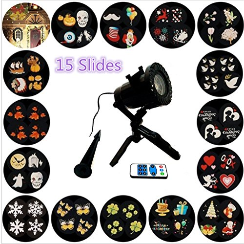 Christmas Projector Lights Landsape lights LED light Motion Projector light 15 Slides Remote Control 16ft Cable IP65 Waterproof light In/Out Door Decoration Lighting Xmas Holiday Birthday Easter Party
