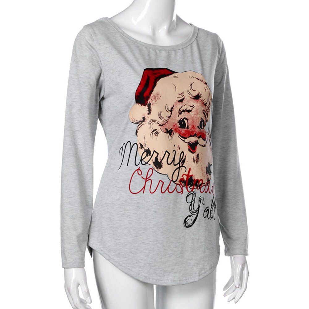 e18d5ca8f6fe8 Zaidern Women Christmas Shirts Ladies Long Sleeve Letter Printed Blouse O-Neck  Tunic Tops Pullover Blouse Sweatshirts at Amazon Women s Clothing store