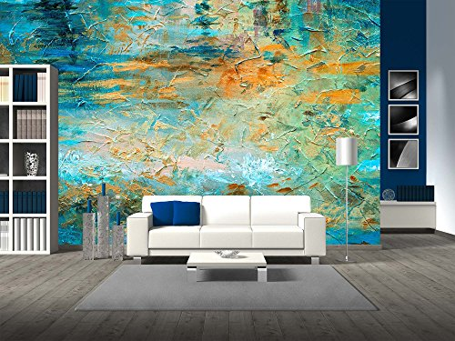 Cheap  wall26 - Abstract Oil Paint Texture on Canvas - Removable Wall Mural..