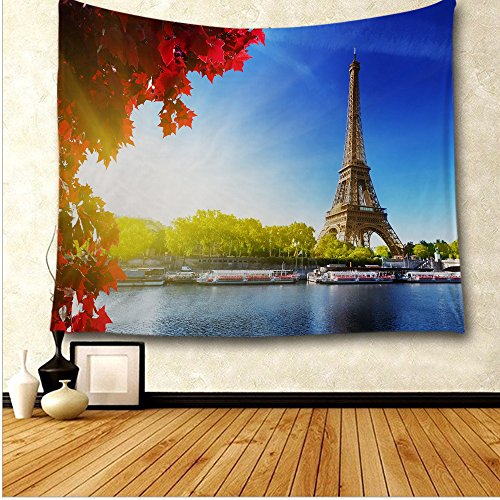 oFloral Eiffel Tower Wall Tapestry, Seine In Paris With Eiffel Tower In Autumn Season Leaves Skyline Riverside Scenery Wall Art Home Decor, Bedroom Accessories, 51W X 60L Inches, - Trade Days Riverside