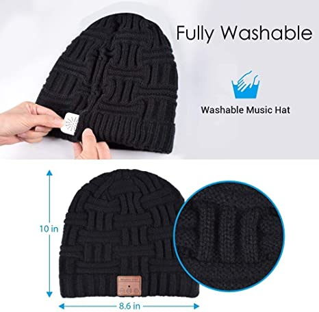 Pecco Bluetooth Beanie Hat Skiing,Skating V5.0 Bluetooth Music Hat for Men and Women,Wireless Headphone Built-in HD Stereo Speakers with Rechargeable USB for Running