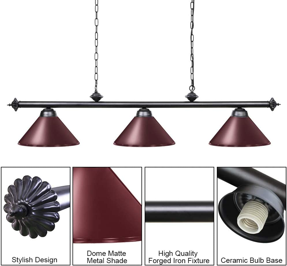 Red, 59 inch-3 Lights Kitchen Island Light for Restaurant Or Dining Room Billiard Lamp for Man Cave Wellmet Pool Table Lights for 8//9 Table with 3 Metal Shades Game Room