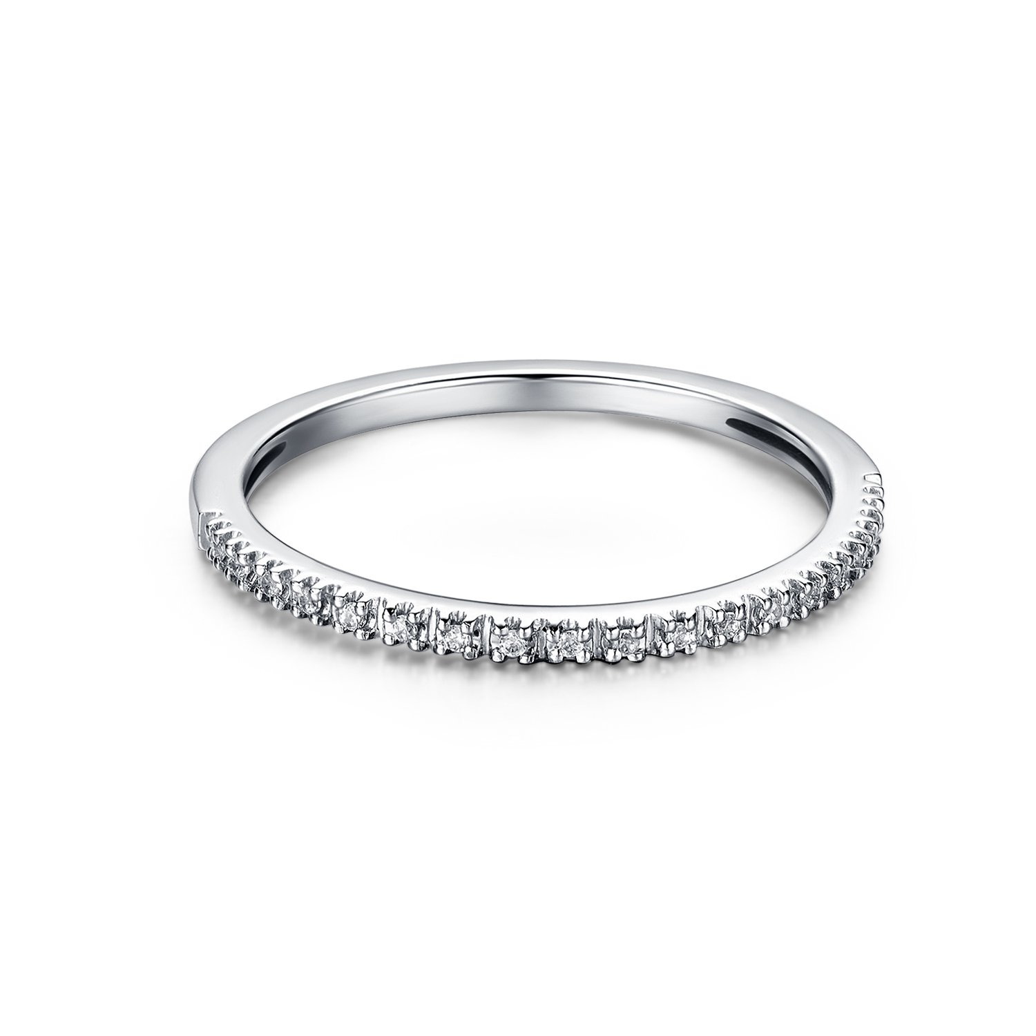 1.5mm Rhodium Plated Sterling Silver Riviera Petite Micropave Cubic Zirconia CZ Half Eternity Ring (8.5)