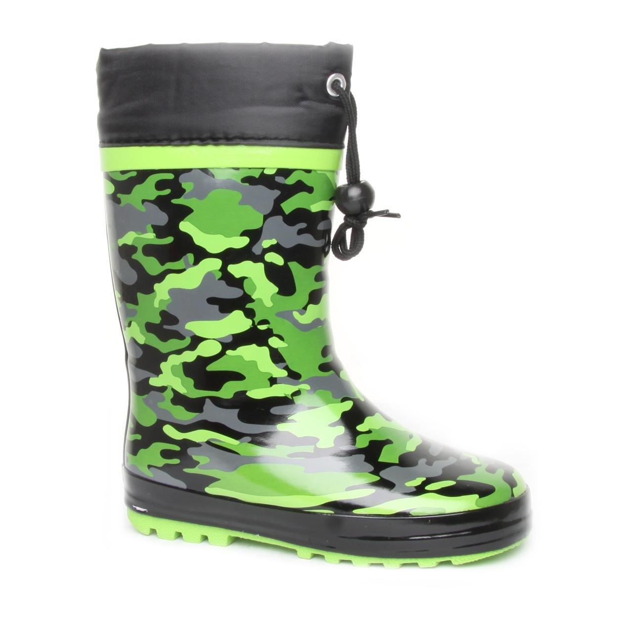 e665f45d7e Boy Junior Brantano Tie Top Camo Green Wellington Boots Size 3 ...