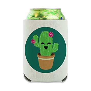 amazon com cute cactus in pot with pink flowers can cooler drink