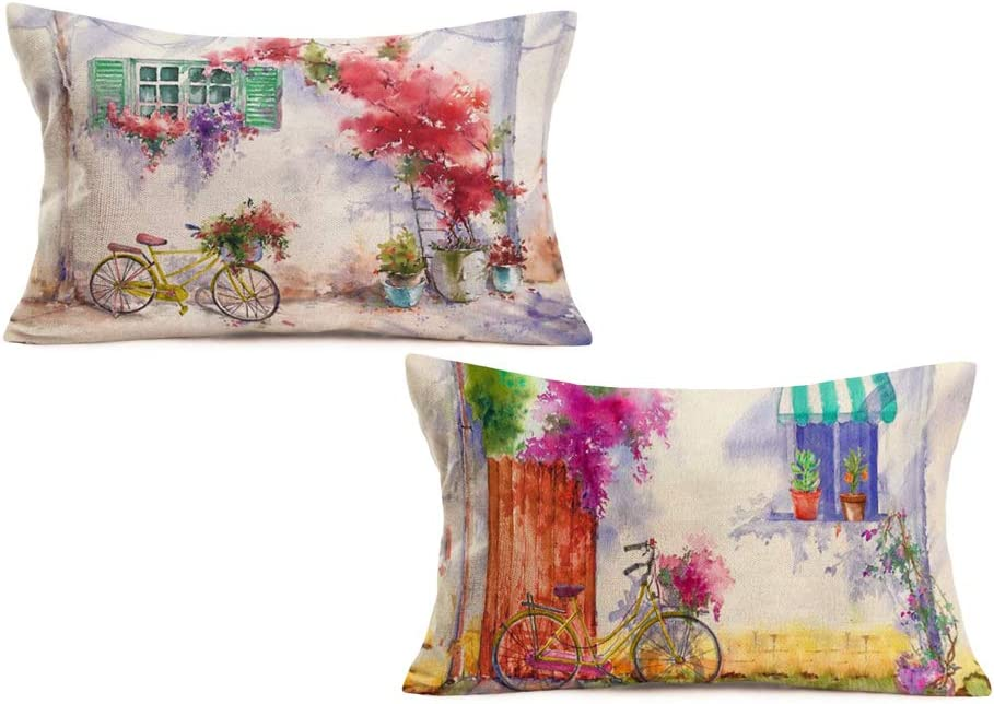Aremetop Watercolor Oil Painting Courtyard with Bicycle Flowers Cotton Linen Throw Pillow Case Cushion Cover 12''x20'' Garden Plants Farm Outdoor Cushion Decor Valentine's Day Decorations Set of 2